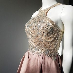 Tiffany 16269 Taupe Nude Sz 2 Satin Ball Gown